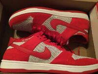 New Nike Mens Dunk Flyknit Shoes Sneakers 917746-600 Sz 11 red, wolf grey
