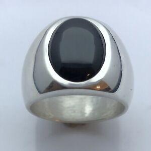 MJG STERLING SILVER MEN'S RING-LOW PRO.12 X 16mm BLACK ONYX. 21 GRAMS