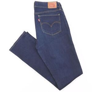LEVI'S 714 Blue Denim Regular Straight Jeans Womens W29 L32