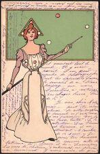 Art Nouveau. La joueuse de billard. Vers 1900