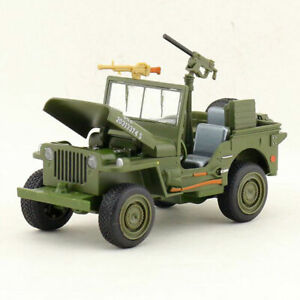 1/24 Willys WW II Jeep Military Vehicle Off-road Model Car Diecast Pull Back