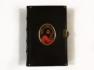 Antique Italian prayer book with hand painted Jesus Christ miniature