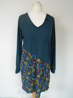 NEXT Dress Size 16 Blue Floral Print Jersey Bias Cut Smart Casual Work