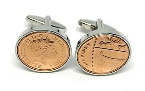2014 7th Copper wedding anniversary cufflinks - Copper 1p coins from 2014 HT