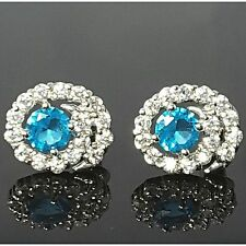 Aqua Blue Clear Cubic Zirconia 18Ct White Gold Plated Stud Earrings UK