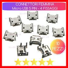 10 PZ CONNETTORI RICARICA Micro USB 5 PIN 4 FISSAGGI Verticali TABLET SMARTPHONE
