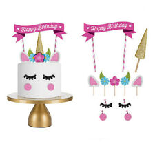 Unicorn Cake Topper Kids Baby Shower Happy Birthday Party Cupcake Flags Set