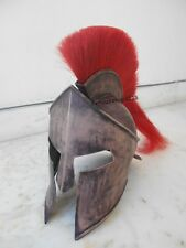 300 LEONIDAS ANTIQUE HELMET IN IRON COVERED WITH ANTIQUE LEATHER RED PLUME