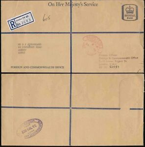 GB OFFICIAL OHMS LARGE REGISTERED SCROLL PAID...FOREIGN + COMMONWEALTH OFFICE