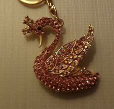 Crystal Diamante Cute  Pink Swan Crown Animal Bag Purse Keyring Charm gift  6121