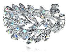 Aurore Boreale Crystal Rhinestone Silver tune Peacock Bird Bracelet Bangle Cuff