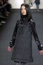 Anna Sui runway grey black trompe l'oeil tape measure dress 2 NWT $395