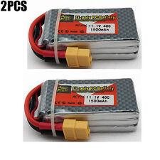 2 pièces 11.1V 1500mAh 40C 3S XT60 Plug Batterie Lipo pour camion RC Quadcopter
