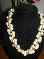 3275) Vintage Chunky Faux Pearl Necklace Gold Tone Double Twisted Strand 17""