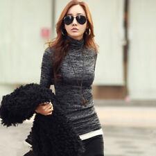 Women S-3XL Long Sleeve High Neck Solid Sweater Pullover Jumper Blouse Top Shirt