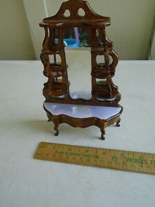 Mirrored Display Console Shelf Curio Table Dark Wood Dollhouse Miniature