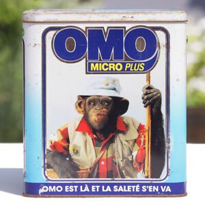 Baril publicitaire vintage vide lessive Omo Micro Plus Chimpanzés de 1992