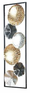 3D Wandbild 30x90cm Ringe Metall Silber Kupfer Gold Deko Teller Wanddeko Design