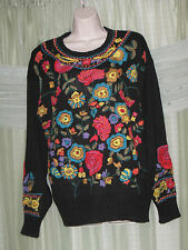 VTG ESSENCE Womens Floral Embroidered Ethnic Black Sweater Jumper HOT Size M