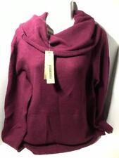 DKNY Women's Cowl Neck Sweater with Slight Hi-low Hem _ Casis-Wine - XL