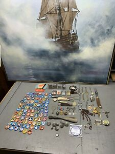 Sterling Junk Drawer Silver Dime Pipe Pin Military Buttons Lot Knife Zippos Coin