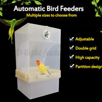 Clear Acrylic Automatic Parrot Feeder Double Hopper No Mess Bird Cage Box