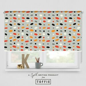 25- Retro Oval in Grey Printed Roller Blind - blackout FREE UK delivery