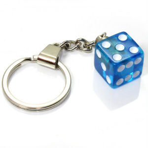 3D Clear Blue Dice Key Chain Ring Fob - for house, home, car, truck, bike keys