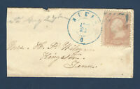 EARLY MILAN OHIO TO TENNESSEE MINI COVER WITH DOUBLE RING BLUE POSTMARK
