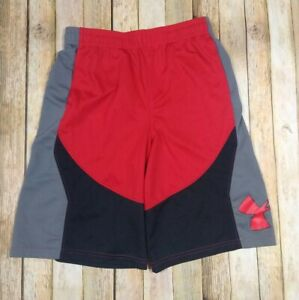Under Armour Heat Gear Loose Fit Shorts Youth Large Red Gray Pockets Gym Run