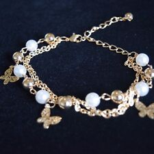Gold Butterfly Anklet or Bracelet ~Multilayered Gold Balls and Artificial Pearls