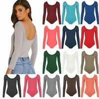 Womens Scoop Neck Bodysuit Leotard Ladies Long Sleeve Body Top 8-28