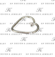 Heart Body Jewelry, 14k White Solid Gold Nose Lip Ear Piercing