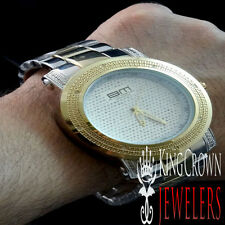 MEN'S NEW TWO TONE GOLD FINISH GENUINE REAL DIAMOND BM METAL BAND WRIST WATCH