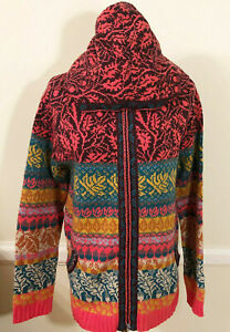 NWT IVKO Charmed Forest Hooded Multicolor Long Knit Jacket / Cardigan Sz M 38