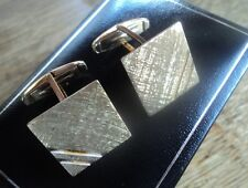 Vintage 9ct Yellow Gold Bar Cufflinks + box h/m 1970 Robert Pringle - not plated