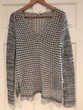 Helmut Lang White & Black Striped V-Neck Sweater, Size Medium