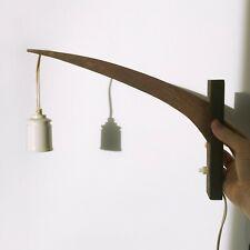 Vtg Danish Dark Wood Lamp Arm Wall Pendant Press Push Button Swing Bulb Light