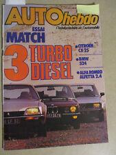 AUTO HEBDO: n°385: 08/09/1983: AUDI QUATTRO SPORT - CX 25 TD - BMW 524 - ALFETTA