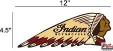 """(IND-2-R) 12"""" RIGHT INDIAN MOTORCYCLE WAR BONNET STICKER DECAL"""