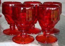 "Set of 5 Viking Glass Ruby Red Georgian Stemmed Water Wine Glasses 5"" tall EUC!"