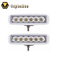Set of 2 White Spreader LED Deck/Marine Lights for Boat Flood Light 12-30V 18W
