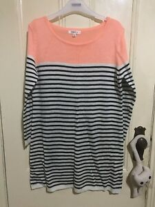 New Star black and white striped knit with orange detail size large