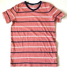 Old Navy Boys Shirt Size 14-16 Red Striped Cotton V-Neck Short Sleeves Casual