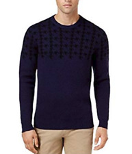 Ben Sherman Men's Dogtooth Jacquard Sweater, Dark Navy, Small
