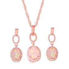 Pink Opal CZ Rose Gold Filled Women Jewelry Pendant Earrings Jewelry Set OT129