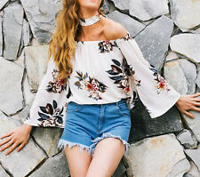 Summer Womens Off Shoulder Striped Tops Shirt Casual Loose Floral T-shirt Blouse