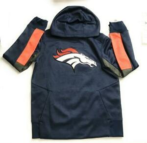 New NFL Denver Broncos Logo Youth Pullover Hoodie, Blue/Orange/White, Size 8
