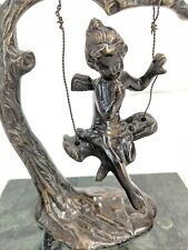 Vintage Bronze Fairy On Tree Swing, Marble Base