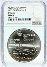 1975 Canada Montreal Olympics Sailing Silver $10 Coin - NGC MS 68 - KM# 104